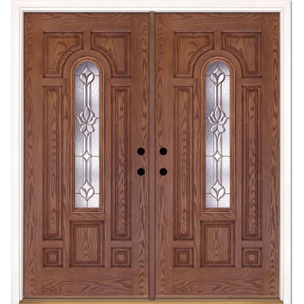 Feather river doors 74 in x in medina brass for Wood doors at home depot