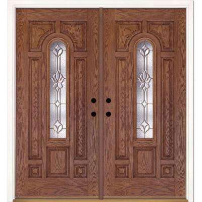 74 in. x 81.625 in. Medina Brass Center Arch Lite Stained Medium Oak Left-Hand Fiberglass Double Prehung Front Door