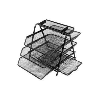 Census Metal Mesh 3-Tier File Tray in Black