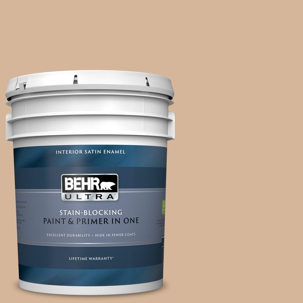 Behr Ultra 5 Gal Ecc 40 1 Canewood Satin Enamel Interior Paint And Primer In One 775405 The Home Depot