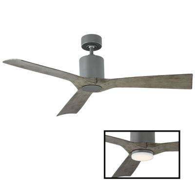 Aviator 54 in. Indoor and Outdoor 3 Blade Smart Ceiling Fan in Graphite LED Light Kit Adaptable