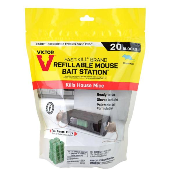 Fast-Kill Refillable Mouse Bait Station with 20 Bait Blocks (0.75 oz.)