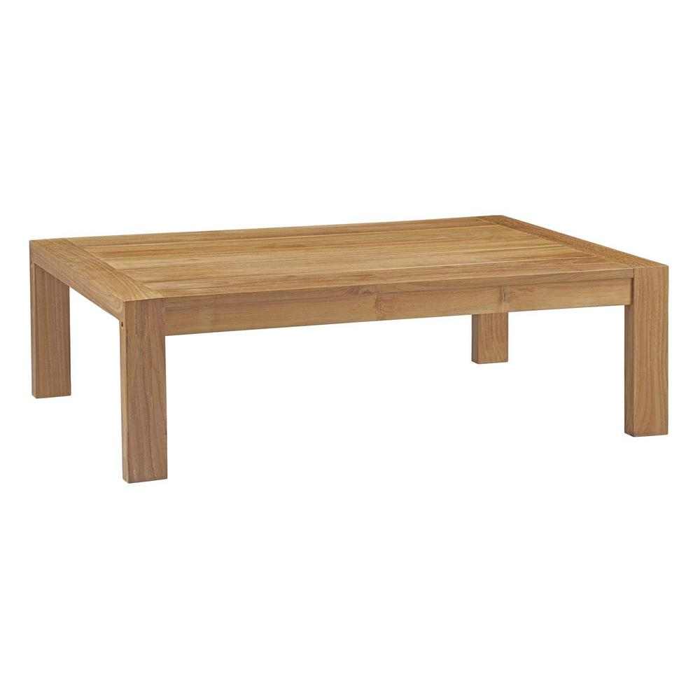 Modway Upland Teak Patio Outdoor Coffee Table In Natural