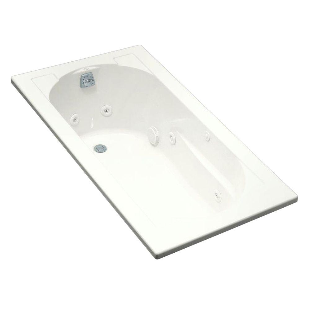 KOHLER Devonshire 5 ft. Acrylic Oval Drop-in Whirlpool Bathtub in ...