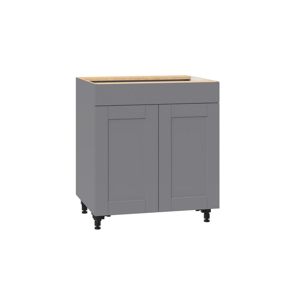 J COLLECTION Shaker Assembled 30 in. x 34.5 in. x 24 in. Base Cabinet with  Metal Drawer Box in Gray