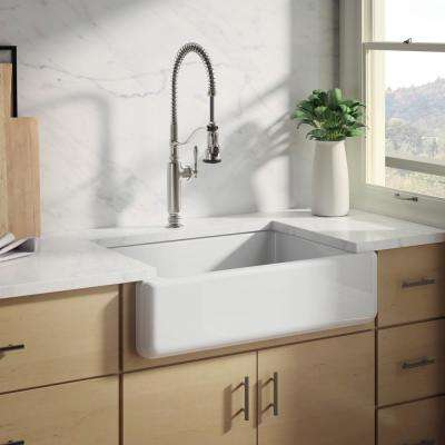 White Haven Undermount Cast Iron 32.6875 in. Single Bowl Kitchen Sink in White with Tournant Faucet