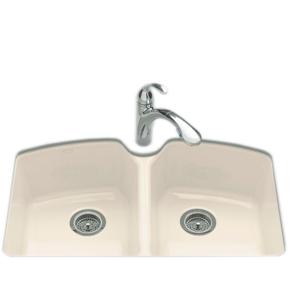 kohler double kitchen sink kohler tanager undermount cast iron 33 in 3 6682