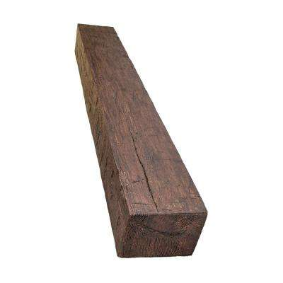 6 in. x 8 in. x 5 ft. Walnut Hand Hewn Faux Wood Beam Fireplace Mantel