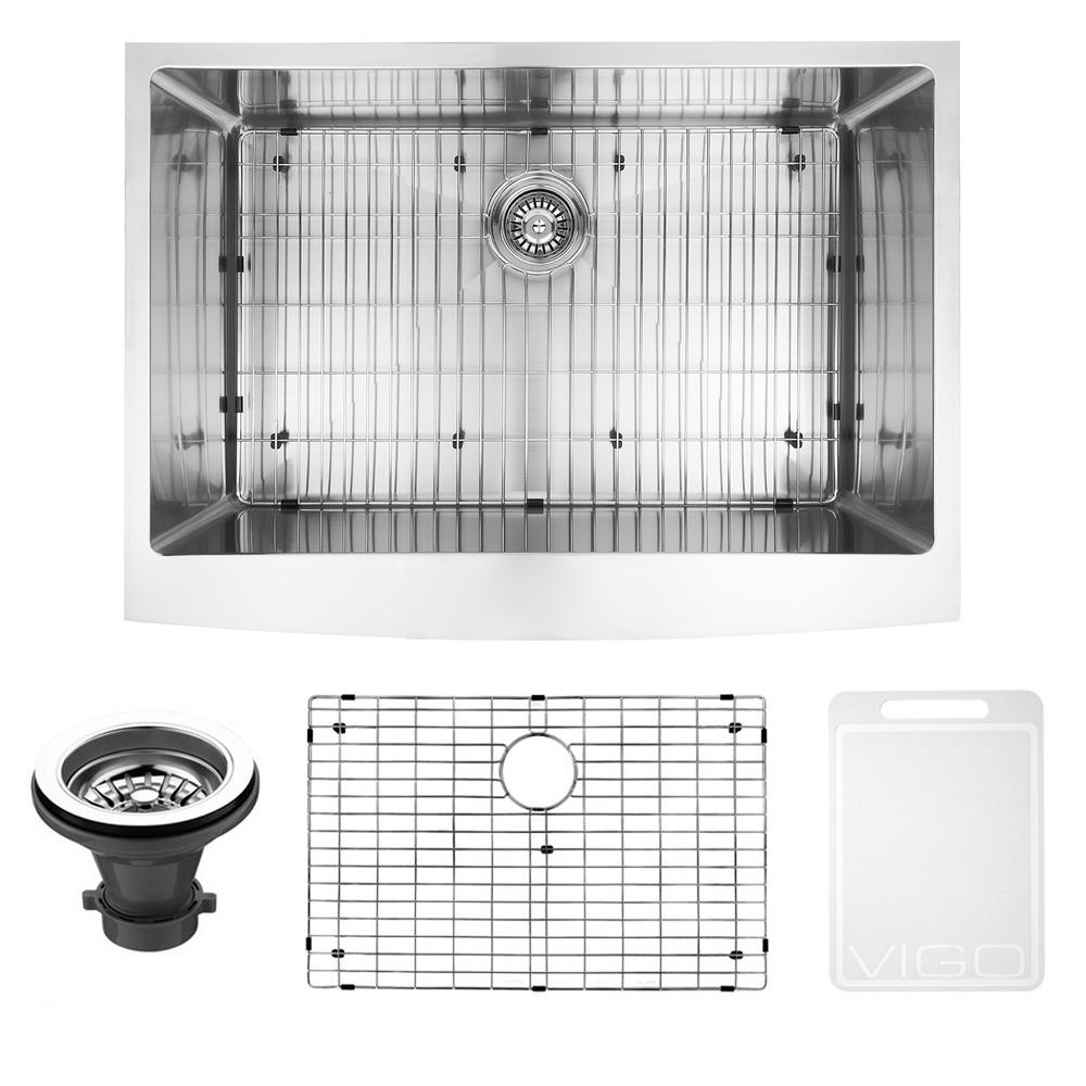 VIGO Farmhouse Stainless Steel 30 In. Single Bowl Kitchen Sink With Grid  And Strainer