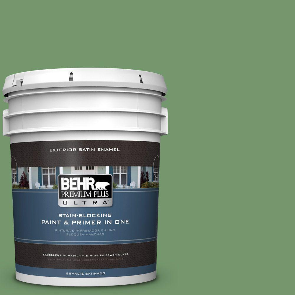 5-gal. #PPU11-3 Botanical Green Satin Enamel Exterior Paint