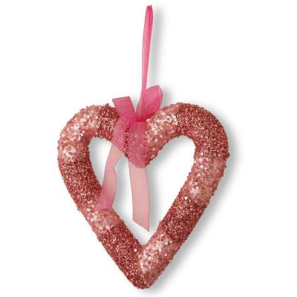 Pink Bead Glittered Valentine Heart