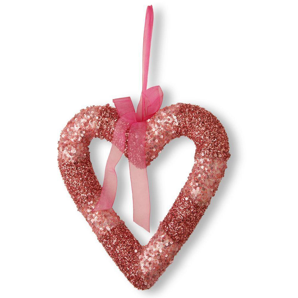 National Tree Company Pink Bead Glittered Valentine Heart