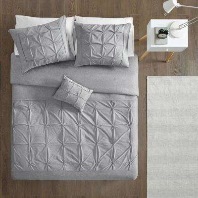 Dana 4-Piece Grey Full/Queen Solid Duvet Cover Set