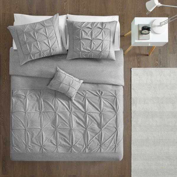 Intelligent Design Dana 4-Piece Grey Full/Queen Solid Duvet Cover Set