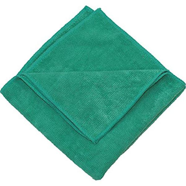 Microfiber Cleaning Cloths,16in. x 16in., Green (12-Pack)