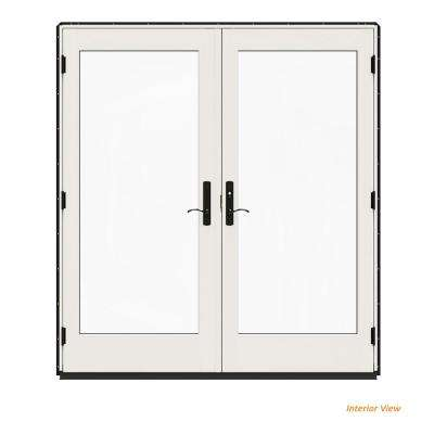 72 in. x 80 in. W-4500 Contemporary Black Clad Wood Left-Hand Full Lite French Patio Door w/White Paint Interior