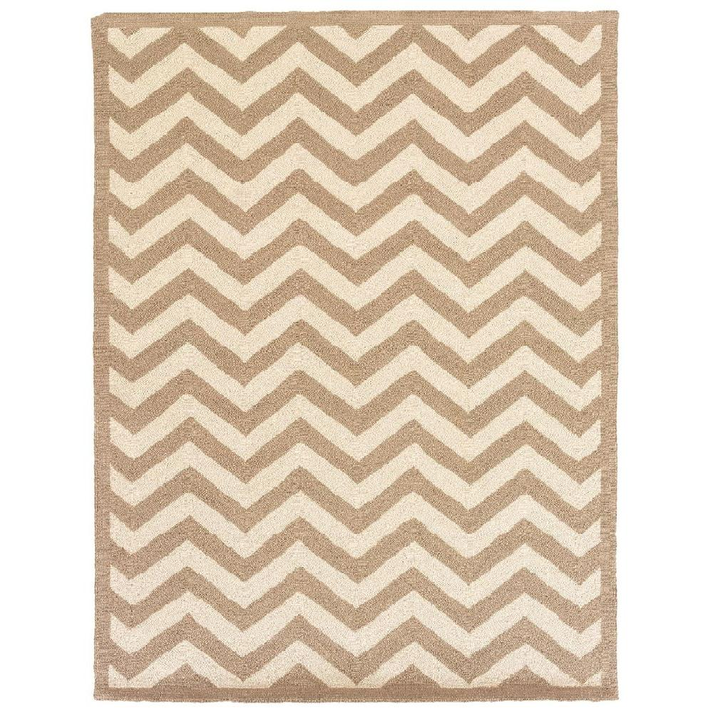 Silhouette Chevron Beige and White 5 ft. x 7 ft. Indoor