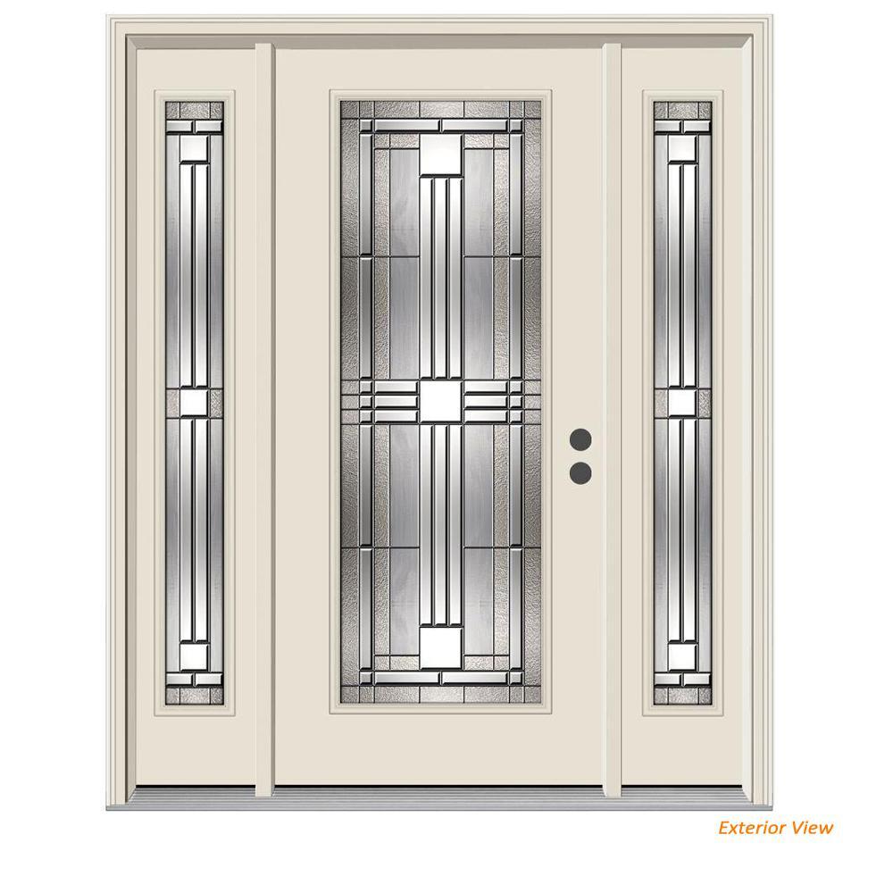62 in. x 80 in. Full Lite Cordova Primed Steel Prehung Left-Hand Inswing Front Door with Sidelites