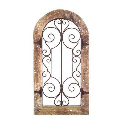 Rustic Brown Arched Wooden Frame Wall Panel with Scrolled Metal Accents