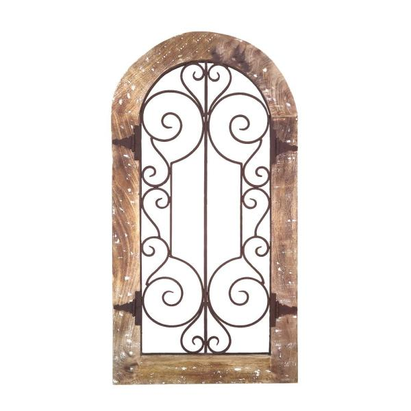 Benzara Rustic Brown Arched Wooden Frame Wall Panel with Scrolled Metal