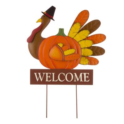 30.00 in. H Thanksgiving Metal Turkey Yard Stake/Hanging Wall Decor (2-Function)