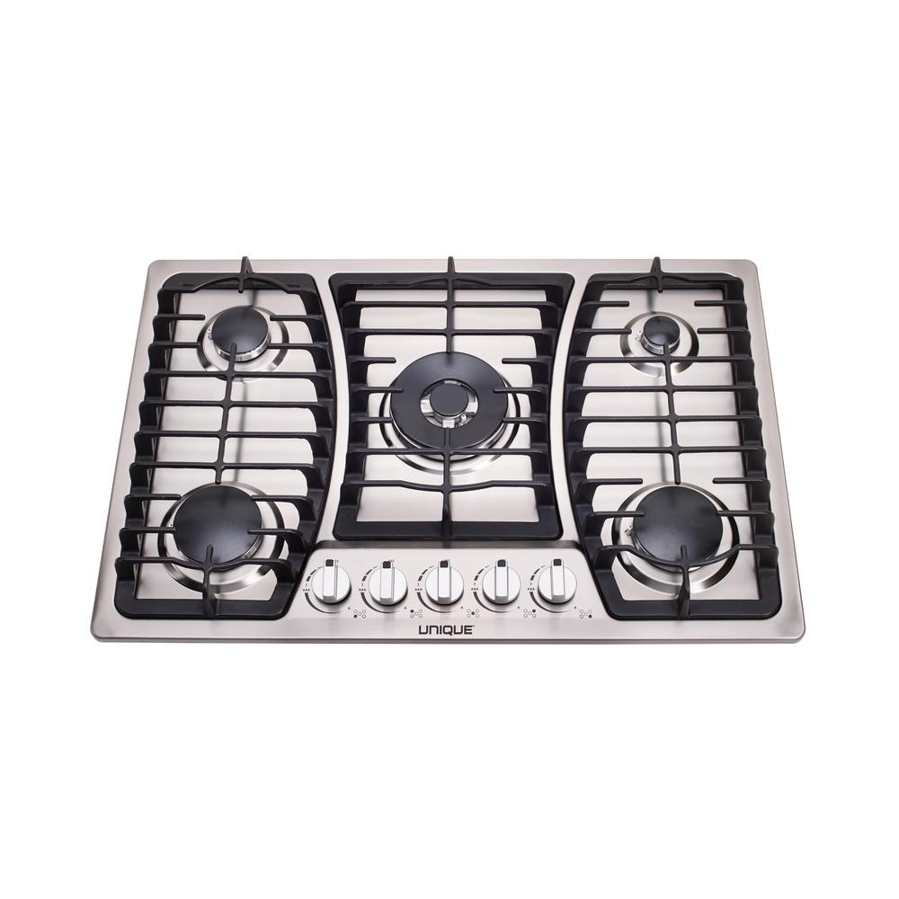 Unique 30 in. Gas Dual Ignition Cooktop in Stainless Steel with 5 Sealed Burners