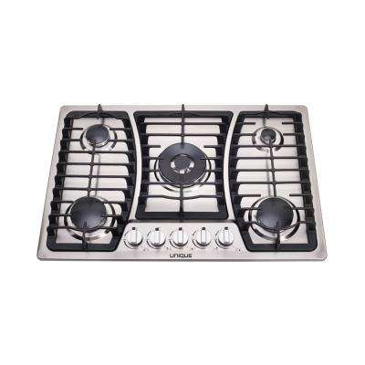 30 in. Gas Dual Ignition Cooktop in Stainless Steel with 5 Sealed Burners