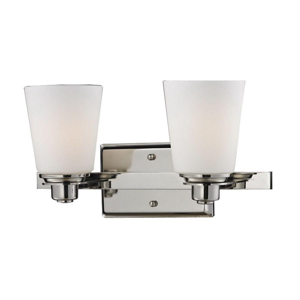Filament Design Lawrence 2-Light Chrome and Matte Opal Incandescent Bath Vanity Light