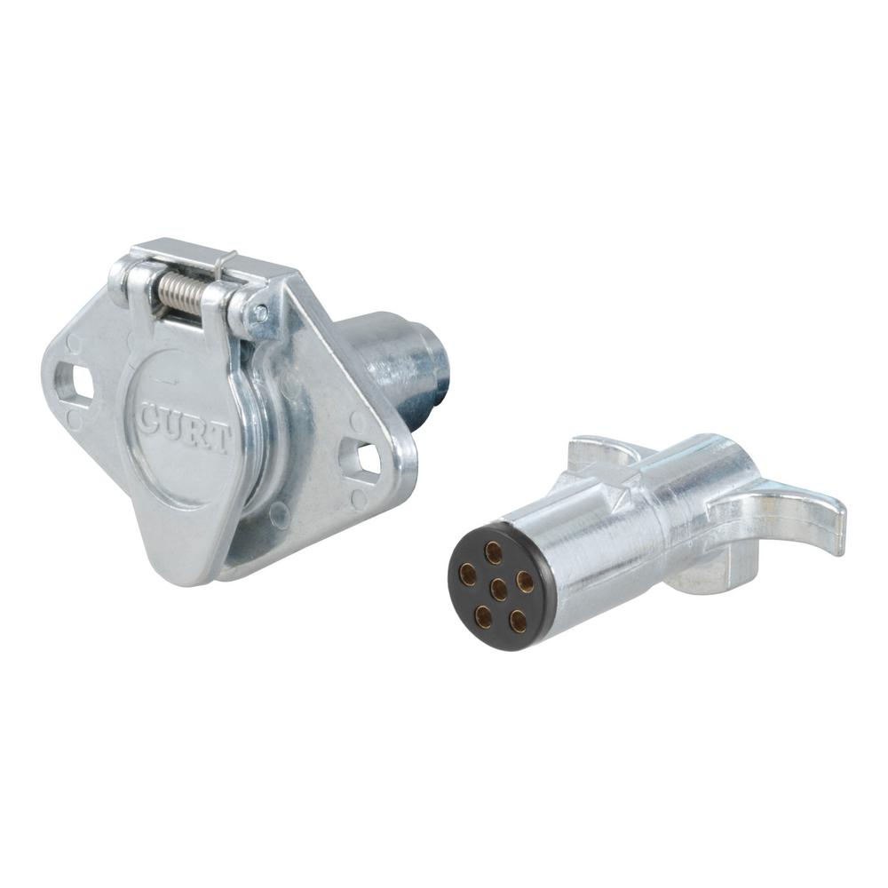 Curt 6 Way Round Connector Plug Socket Packaged