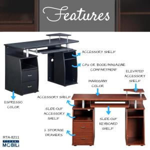 Delicieux +4. Mahogany Complete Computer Workstation Desk With Storage
