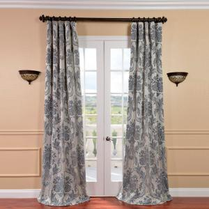 Exclusive Fabrics & Furnishings Magdelena Silver and Blue Faux Silk Jacquard Curtain Panel - 50 inch W x 96 inch L by Exclusive Fabrics & Furnishings
