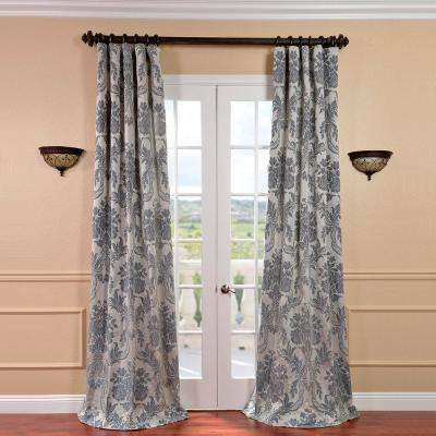 Magdelena Silver And Blue Faux Silk Jacquard Curtain Panel 50 In W X 96