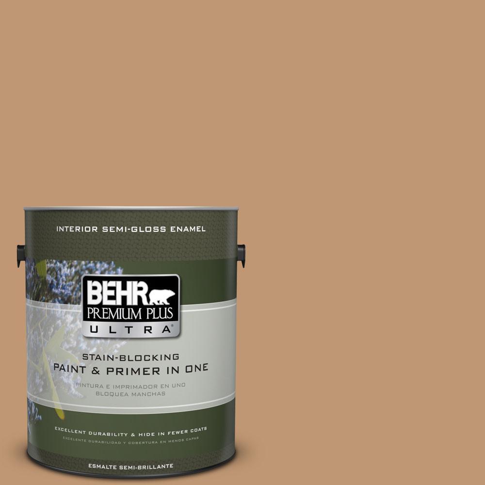 BEHR Premium Plus Ultra 1-gal. #270F-5 Wilmington Tan Semi-Gloss Enamel Interior Paint