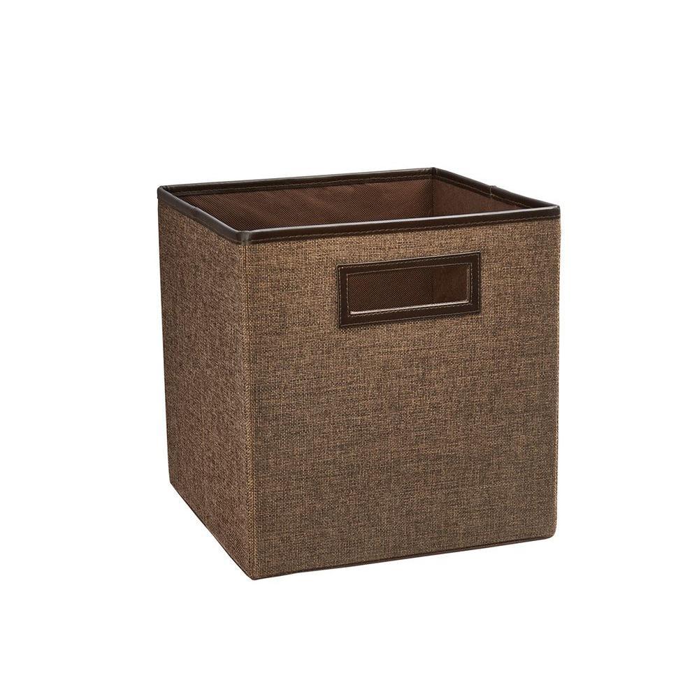 11 in. D x 11 in. H x 11 in. W Toffee Fabric Cube Storage Bin