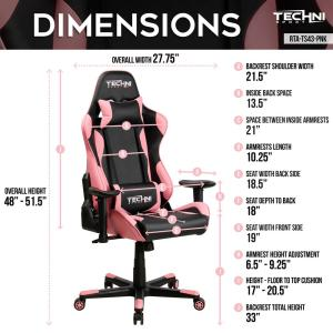 Fine Techni Sport Pink Gaming Chair Rta Ts43 Pnk The Home Depot Machost Co Dining Chair Design Ideas Machostcouk