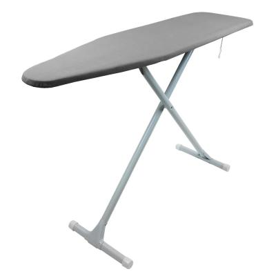 T-Leg Steel Top Ironing Board with Foam Pad and Grey Pattern Cover