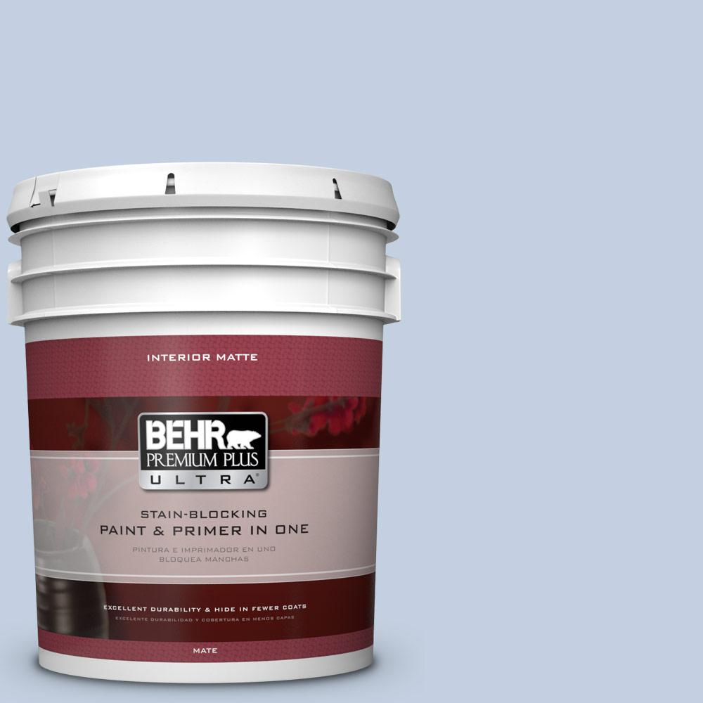 BEHR Premium Plus Ultra 5 gal. #580E-2 Saltwater Flat/Matte Interior Paint