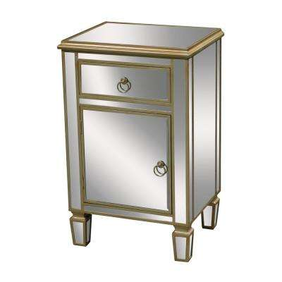 Broadway 1-Drawer with 1-Door Champagne Silver Leaf and Clear Mirror Chest