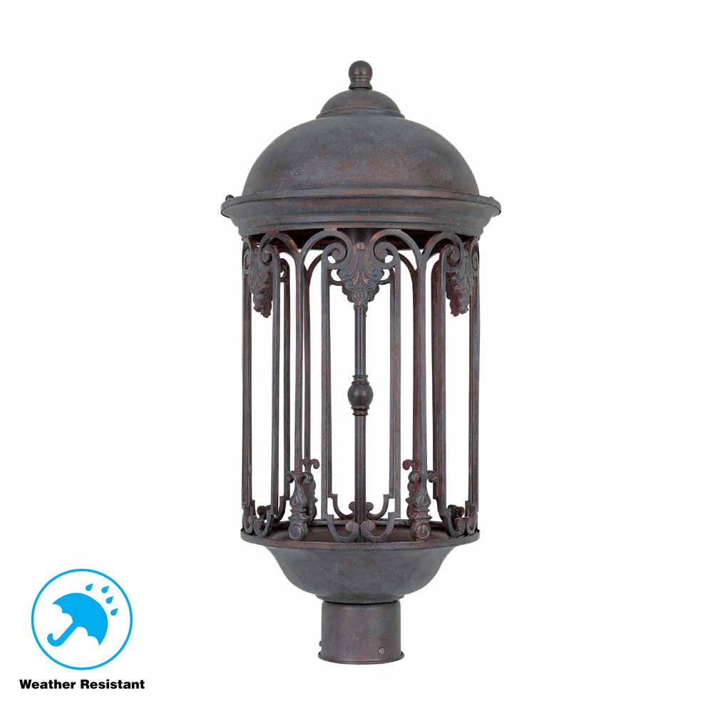 World Imports Dark Sky 11 in. Old Bronze Outdoor Post Light