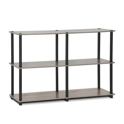 29.5 in. French Oak Gray/Black Plastic 3-shelf Etagere Bookcase with Open Back