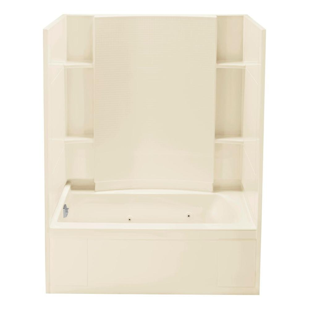 STERLING Accord 36 in. x 60 in. x 76 in. Whirlpool Bath and Shower Kit with Left-Hand Drain in Almond-DISCONTINUED