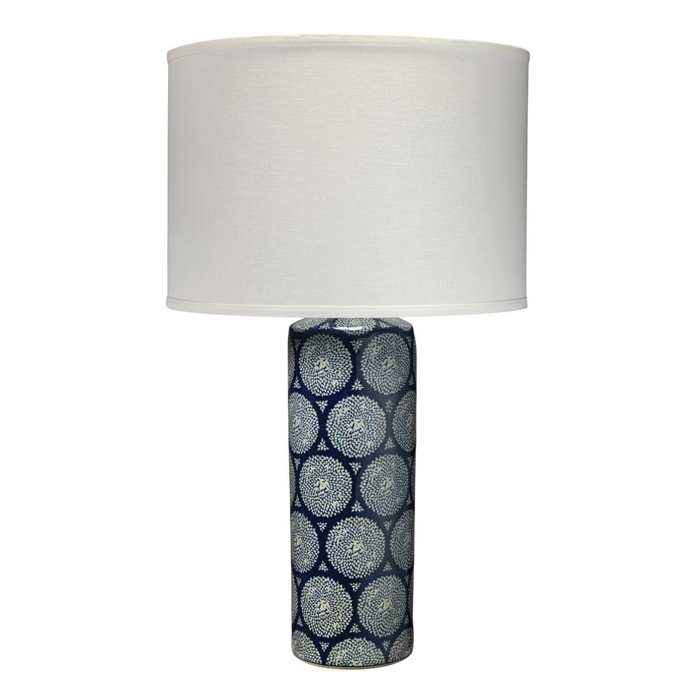 28 5 In Blue And White Neva Table Lamp With Classic Drum Shade
