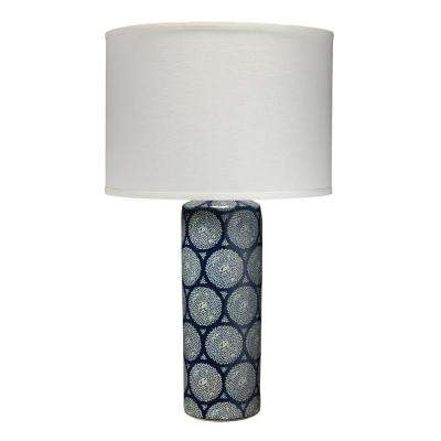 Blue And White Neva Table Lamp With Classic Drum Shade