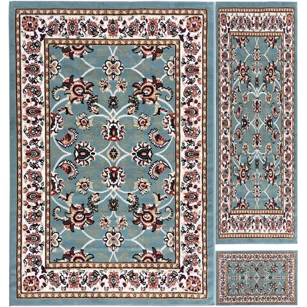 Paterson Collection Traditional Bordered Design Aqua Blue 5 ft. x 7