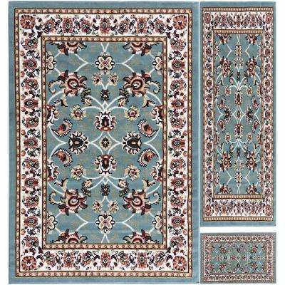 Paterson Collection Traditional Bordered Design Aqua Blue 5 ft. x 7 ft. 3-Piece Rug Set