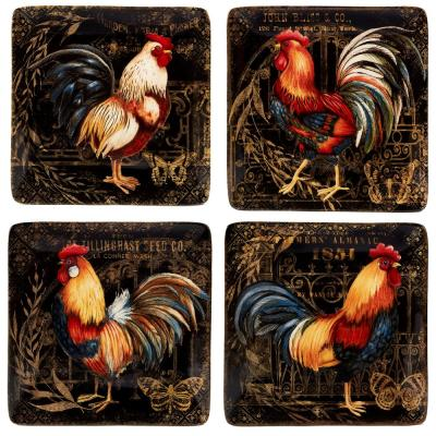 Gilded Rooster 4-Piece Traditional Multi-Colored Ceramic 6 in. Canape Plate Set (Service for 4)