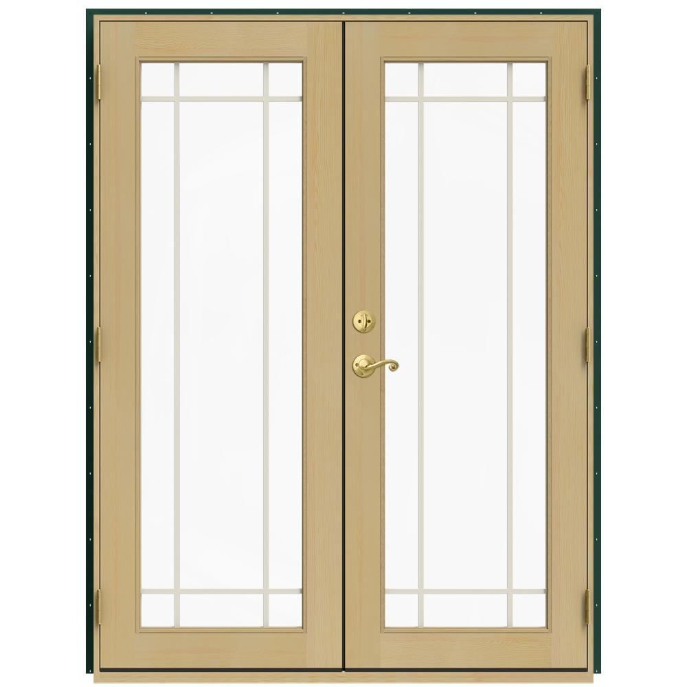 59.5 in. x 79.5 in. W-2500 Hartford Green Left-Hand Inswing French Wood Patio Door