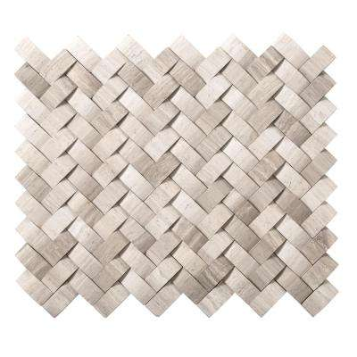 Metro Cream Twine 11 in. x 13 in. x 12 mm Limestone Mosaic Tile (1.04 sq. ft.)