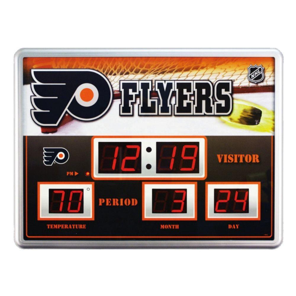 null Philadelphia Flyers 14 in. x 19 in. Scoreboard Clock with Temperature