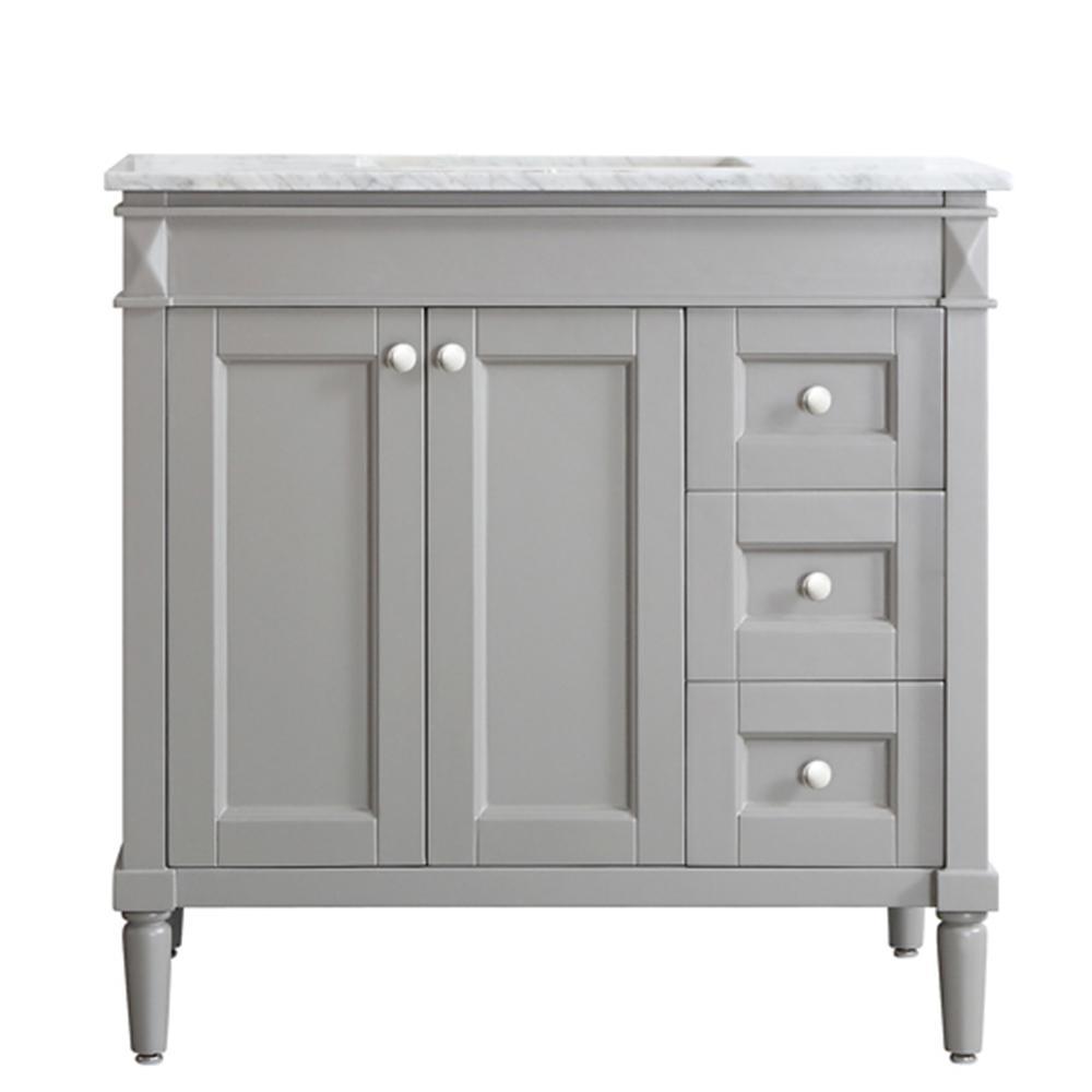 Vinnova Catania 36 In W X 22 In D X 35 In H Vanity In Grey With Marble Vanity Top In White